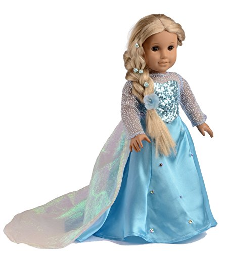 Ebuddy ® Elsa Sparkle Princess Dress for 18 Inch Dolls
