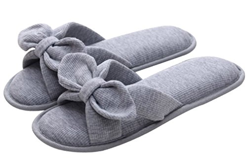 Bow Cotton Gray Indoor Spa Cattior Womens Slippers House Slippers q7fwE5w