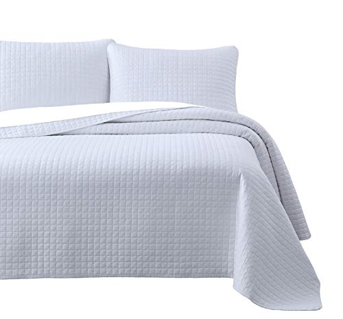 (Attitude 2pc Quilted Coverlet Set White Twin/Twin XL Size (68