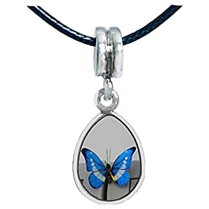Chicforest Silver Plated Beautiful Lovely Butterfly Photo Angel Tears Charm Beads Fits Pandora Charms