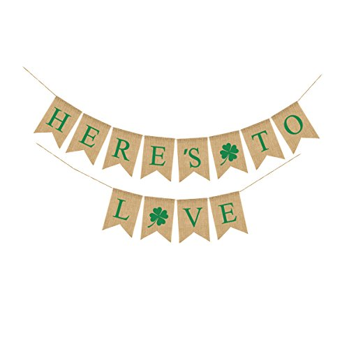St. Patrick's Day Decorations Tinksky HERE'S TO LOVE Wedding Burlap Banner Flags Irish Four Leaf Clover Shamrock (St Patricks Day Wedding)