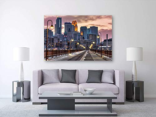 "Minneapolis Canvas,""North Star Night"", Downtown, Stone Arch Bridge, Minnesota - Travel Photography on Canvas"