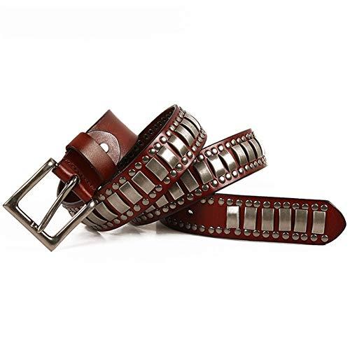 Dig dog bone Leather Belt for Unisex Adults Gothic Belts Handmade Steampunk Studded Punk Rock Blet (Color : Black, Size : 105cm) ()