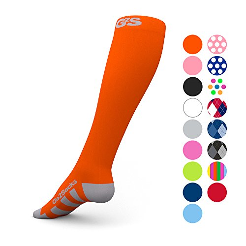 (Go2Socks Compression Socks for Men Women Nurses Runners 20-30 mmHg (high) - Medical Stocking Maternity Travel - Best Performance Recovery Circulation Stamina - (Neon,L))