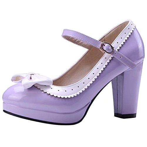 YE Damen Rockabilly Pumps Blockabsatz Plateau High Heels mit Riemchen und Schleife 9cm Absatz Elegant Schuhe Lila