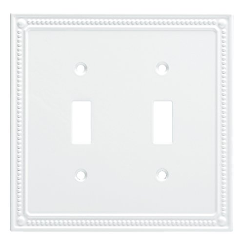 Franklin Brass W35061-PW-C Classic Beaded Double Switch Wall Plate/Switch Plate/Cover, White (Brass Double Toggle Switch)