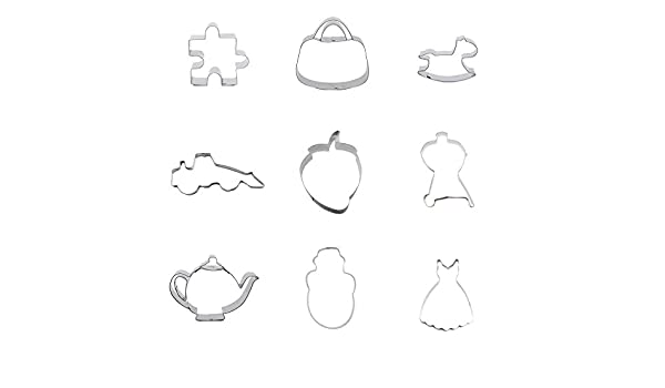 9 piezas de cortador de galletas, falda de galletas para vestido de muñeco de nieve, botella, geometría, rectangular, fresa, bulldozer, balancín de caballo, ...