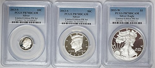 2013 S Roosevelt Dime, Kennedy Half & Silver Eagle Limited Edition Silver Proof Set PR-70 DCAM