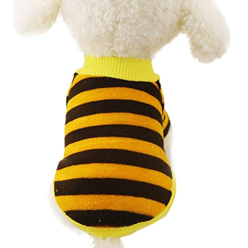 - DIGOOD Medium Small Dog Cat Striped Coral Cashmere Sweater Pet Puppy Warm Fresh Blouse Tops Clothing (Yellow, S)