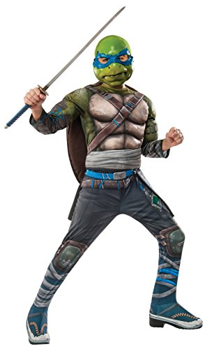 Teenage Ninja Mutant Turtle Costumes (Rubie's Costume Kids Teenage Mutant Ninja Turtles 2 Deluxe Leonardo Costume, Small)