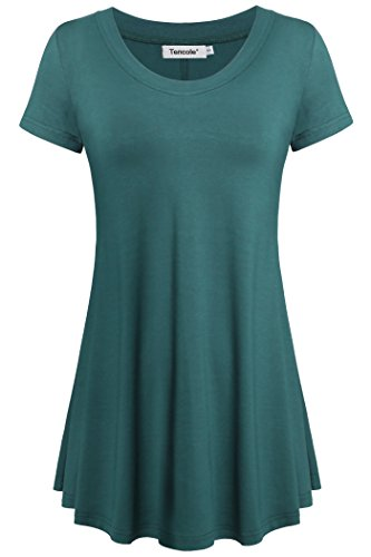 Tencole Women Scoop Neck Short Sleeve Summer Tunic Tops Pleated Casual Shirts