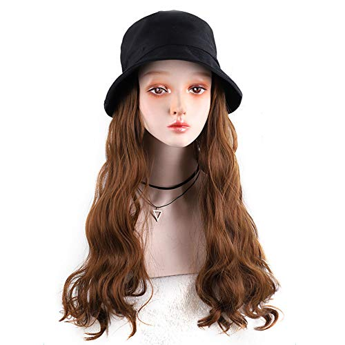 Synthetic Bucket Cap Wig for Women Chemical Treatmentbucket Cap Hat with Wig Attached Synthetic Hair Wig