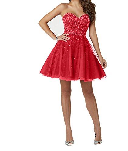 Festliche Mini Kurz Kleider Charmant Rot Neu Damen Cocktailkleider Ballkleider Abendkleider Promkleider SFw4A