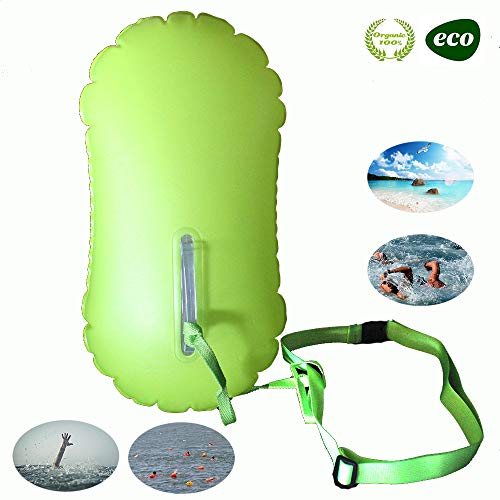 E-Onfoot Swim Float and Drybag for Open Water Swimmers and Triathletes, Highly Visible Bouy Float Air Bag for Safty Swim Training (Fluo Green-No Storage Space) (Best Diet For Triathletes)