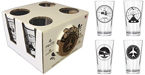 Corkology.com 445-1 Aviation Clusters Pint Pack with Matching Coaster Set, Clear