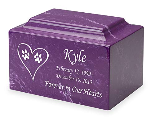 Amethyst Dog Paw Prints in Heart Pet Cremation Urn - Personalized - Cultured Marble - 50 Cubic Inch ()