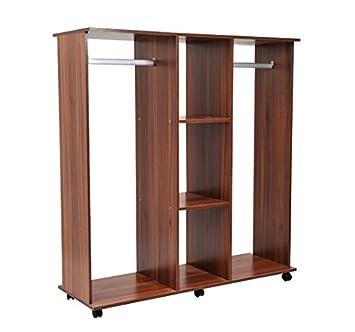 outsunny armario abierto guardaropa colgar ropa madera colgador con ruedas xxcm