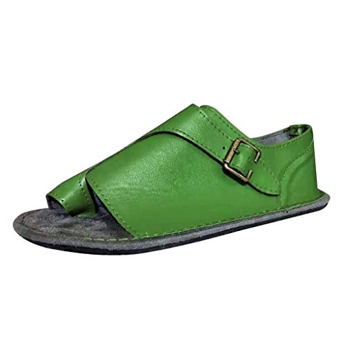 Women's Retro Roman Slides Sandals Comfy Espadrille Slide-on Open Toe Faux Leather Ankle Buckle Summer Flat Sandals -