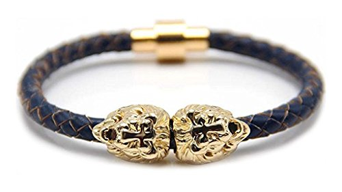 Xusamss Fashion Alloy Lion Head Bangle Leather Magnet Buckle Bracelet,8.0inches - Head Cuff Bracelet