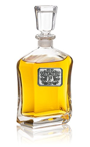Personalized-Whiskey-Decanter--Monogram-Initial-Pewter-Engraved-Crest-Novelty-for-Weddings-Birthdays-or-any-Special-Occasions--Pick-Your-Letter-L-2375OZ