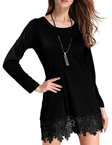 Women's Long Sleeve Lace Trim Short A-Line Dress Casual Long Tunic Top (XXL, Black)