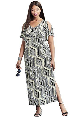 136a53b4102 Jessica London Women s Plus Size Travel Knit Cold Shoulder Maxi Dress at  Amazon Women s Clothing store