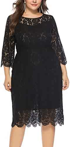 c92c7ad325b Eternatastic Women s Floral Lace Long Sleeve Plus Size Lace Dress Black