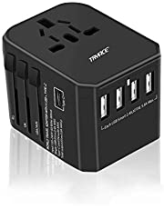 Travel Adapter,TryAce Universal USB-C International Power Adapter,Worldwide Plug Adaptor with 4 USB Ports 1 Type-C 3.0A All in Travel Adapter for 150 Countries