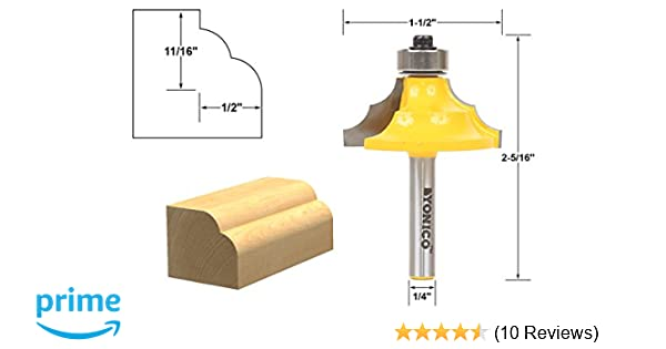 1//4 Shank Woodworking Router Bit Radius Round Over Dual Edge Cutter 1//2/'/'