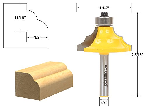 Double Roundover Router Bit - Yonico 13130q 1/4-Inch Shank-Double Round-Over Router Bit 1/4-Inch Shank