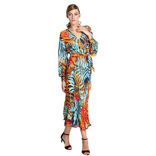 Fashion Women V Neck Autumn Tropical Flower Floral Chiffon Long Sleeve Dress HOT EA77