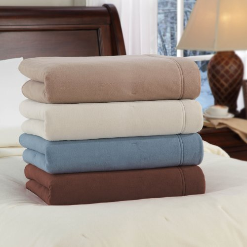 Soft Heat Luxury Micro-Fleece Low-Voltage Electric Heated Full Size Blanket, Beige
