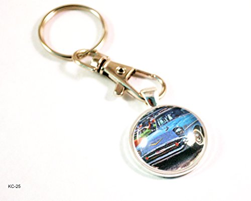 1957 Chevy Chevrolet Bel Air Tri-five Hot Rod Key Chain with Clasp