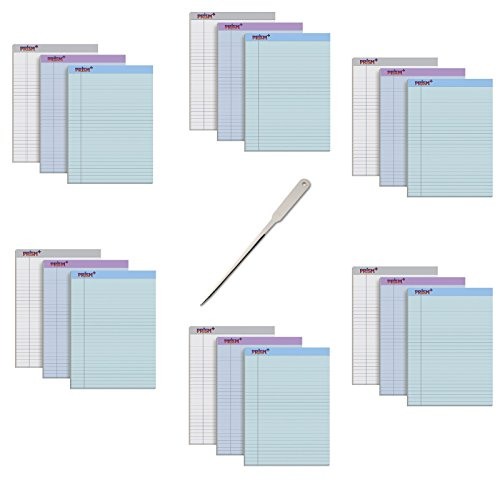 TOPS Prism+ Writing Pads, 8-1/2'' x 11-3/4'', Assorted Colors 6 Each: Gray, Orchid, Blue, Legal Rule, 50 Sheets, Perforated Pages, 18 Pack (63116) - Bundle Includes a Letter Opener by Tops