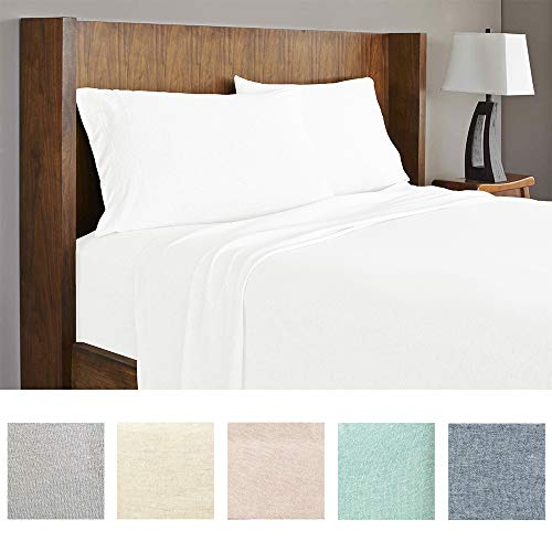 Royale Linens Soft Tees Cotton Modal Jersey Knit Sheet Set, King, White