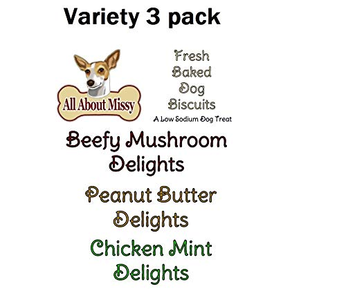 Low Sodium Dog Treats - Variety 3 Pack - Beefy Mushroom, Peanut Butter, Chicken Mint - For dogs with CHF ()