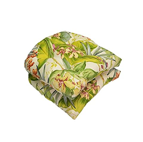 Set of 2 - Universal Tufted U-shape Cushions for Wicker Chair Seat - Tommy Bahama Pink Green Orange Tropical Floral - Indoor / Outdoor