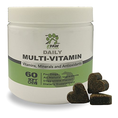 Daily Vitamins and Minerals for Dogs By ZPAW Vet Line Antioxidant Dog Vitamins and Supplements Immune System Healthy Breed Dog Nutritional Supplement Chewy Tasty Treats 60 Soft Chews