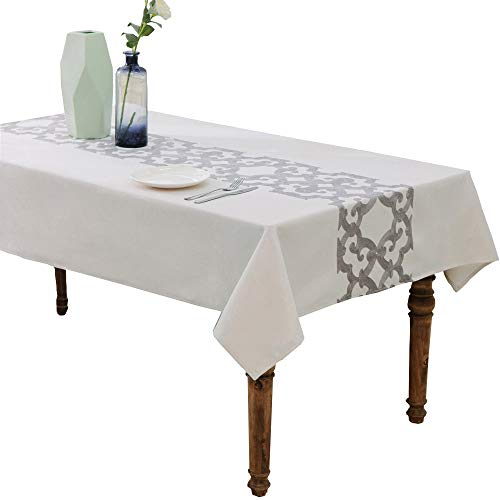 HWY 50 Cotton Linen Blended Grey Embroidered Tablecloths Rectangle Tables Kitchen Decorative Table Cloths European European Gray Geometric Window Grille 52 x 70 inch, 1 Piece