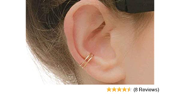 Amazon Com Ear Cuff Double Band Earcuff 14k Gold Filled Wrap