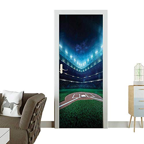 Door Sticker Wall Decals Professial Baseball Field Night with Spotlights Playground Stadium League Them Easy to Peel and StickW23.6 x H78.7 INCH