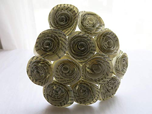 Classic-Book-Page-Roses-on-Stems-Paper-Flowers-Bouquet-One-Dozen-Paper-Roses-15-Blooms-Bridal-Shower-Decoration-Party-Decor-Set-of-12-Wedding-and-Event-Planning-Literary-Theme