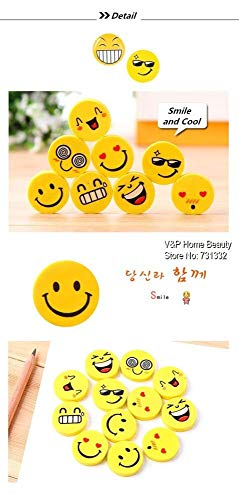 120 pcs/Lot Smile face Erasers rubber for pencil funny cute stationery Novelty eraser Office supplies by PomPomHome (Image #3)