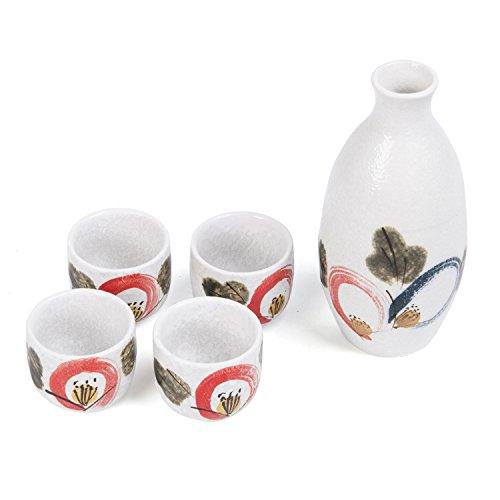 Japanese Ceramic Sake Cup - Cinf Japanese Cold Sake Set 10 oz One Bottle 4 Cups In Shockproof Box,5 Piece Porcelain Ceramic Sake Set for Use or Home Decor,Microwave and Dishwasher Safe …