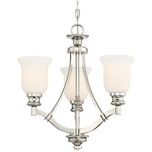 Minka Lavery 3403-613 Audrey'S Point – Three Light Chandelier, Polished Nickel Finish with Etched Opal Glass