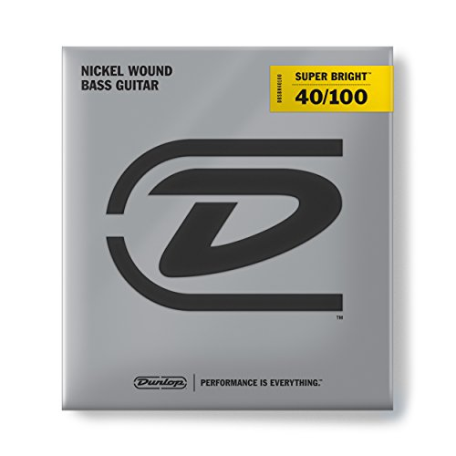 (Dunlop DBSBN40100 Super Bright Bass Strings, Nickel Wound, Light, .040–.100, 4 Strings/Set)