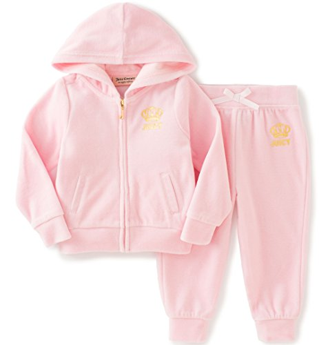 Juicy Couture Baby Girls' 2 Piece Velour Hooded Jacket and Pant Set, Light Pink, 18 Months