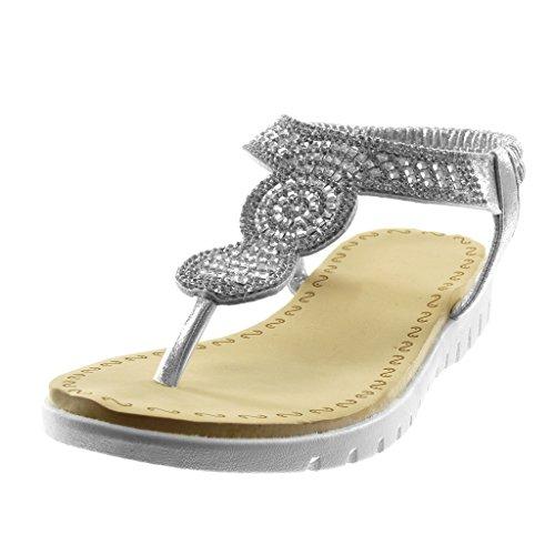 Angkorly Damen Schuhe Sandalen Flip-Flops - Slip-On - T-Spange - Strass Keilabsatz 2.5 cm Silber