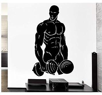 57X90cm Levantamiento de pesas Levantamiento de pesas con mancuernas etiqueta de la pared del deporte tatuajes de pared Fitness Art Mural dormitorio ...