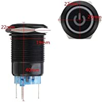 Blau KingLan 12V 5 Pin 19Mm Led Metall Push Button Momentary Power Switch Wasserdichtschalter Schwarz